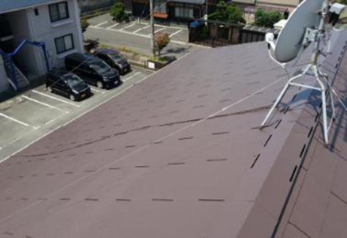 福岡県遠賀郡アパートの屋根塗装施工事例の施工後画像