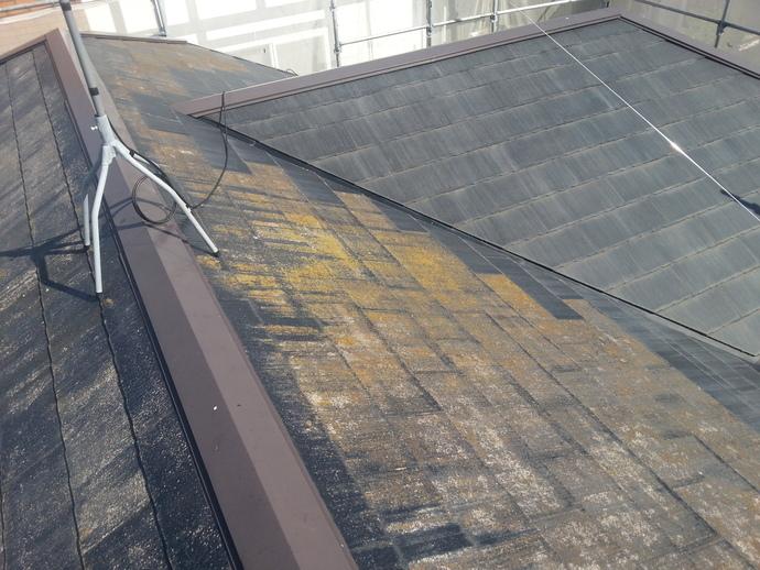 福岡市東区で経年劣化に伴いカビの生えた屋根が気になる屋根塗装の施工前画像