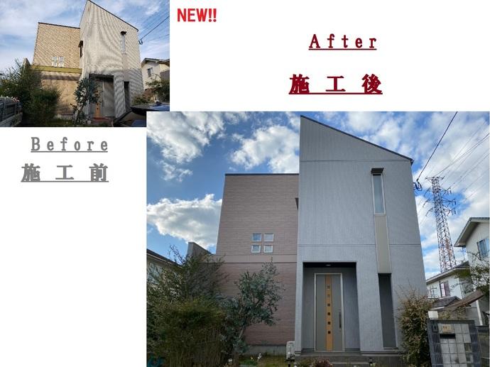 北九州市八幡西区上の原一戸建て築12年で初めての外壁塗装施工の施工後画像