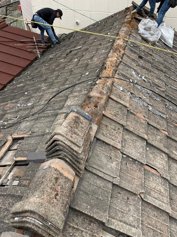 戸畑区【雨漏りにお困り】屋根葺き替え工事行いました(*^_^*)の施工前画像