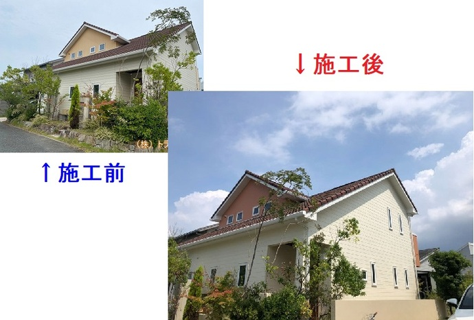 福岡市東区香椎で戸建て外壁塗装を行いましたの施工後画像